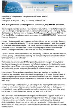 FERMA Press Release 02/10/2011 09:00PM