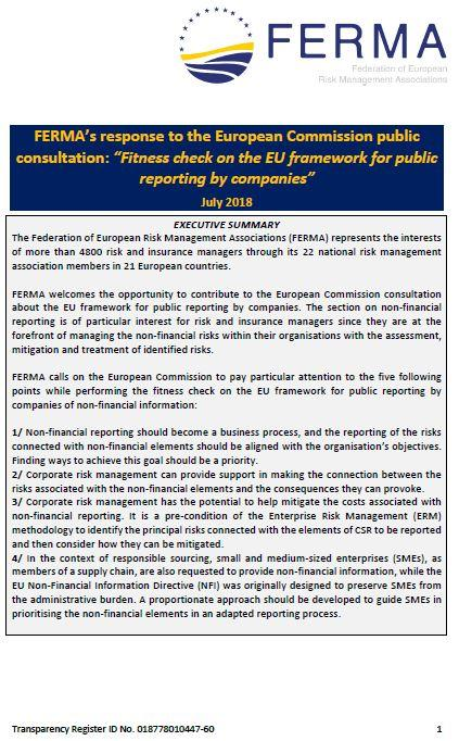 "FERMA's response to the European Commission public consultation: ""Fitness check on the EU framework for public reporting by companies"""