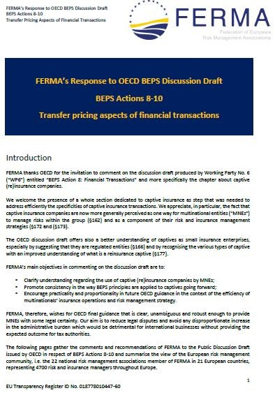Capture cover FERMA response to BEPS discussion draft