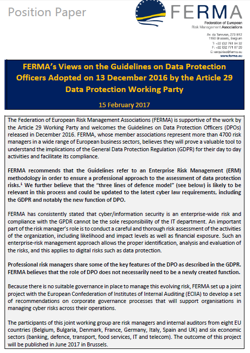 FERMA comments on DPO guidelines