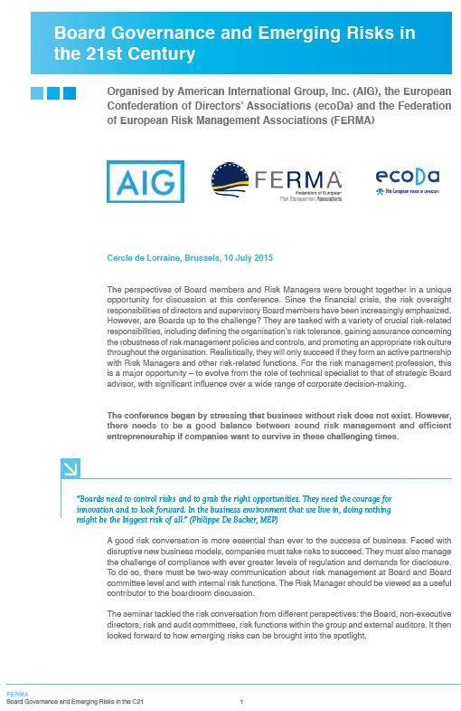 FERMA ecoDa AIG - Risk Governance Conference