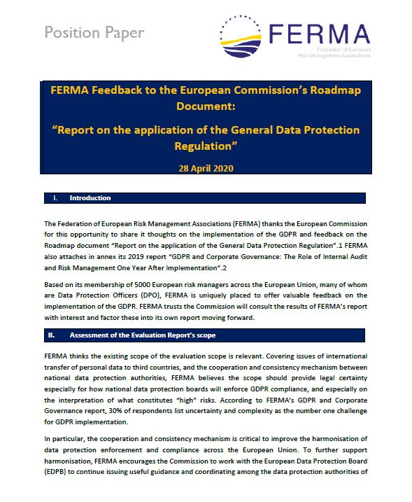 FERMA Feedback to the European Commission's Roadmap Document GDPR