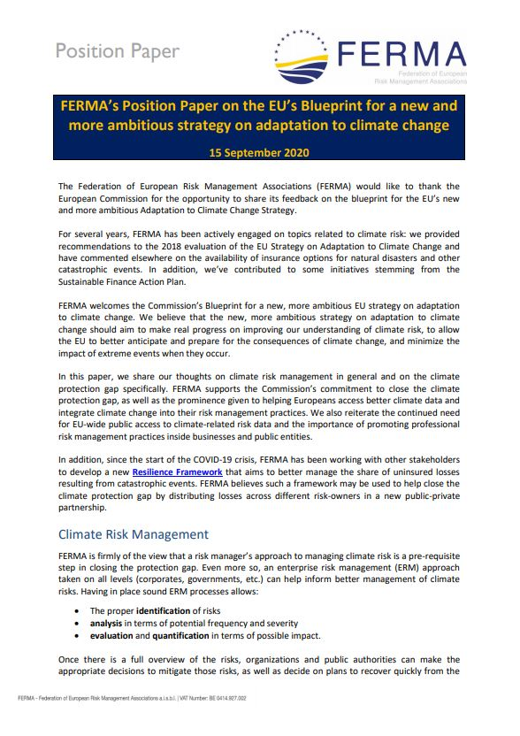 FERMA's Position Paper on the EU's Blueprint for a new and more ambitious strategy on adaptation to climate change