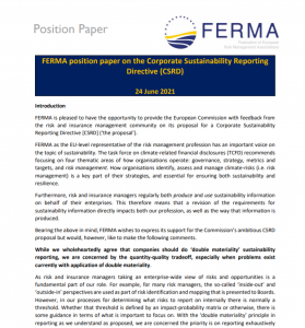 Position Paper on Corporate Sustainability Reporting Directive